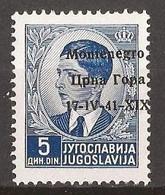 1941  7   MONTENEGRO 17-41,,, ,,,-ITALIA OCCUPAZIONE  MONTENEGRO CRNA GORA  OVERPRINT MOVED  MNH - 9. Besetzung 2. WK (Italien)
