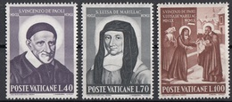 Vaticano 1960 Uf. 295/297  San Vincenzo De Paoli Santa Luisa De' Marillac Full Set MNH - Cristianesimo