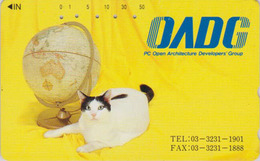 Télécarte Japon / 110-011 - ANIMAL - CHAT - CAT & Globe Map - Japan Phonecard - KATZE - GATTO - GATO - 5029 - Chats