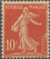 Type Semeuse Fond Plein Avec Sol. 10c. Rouge (I) Y134 - France
