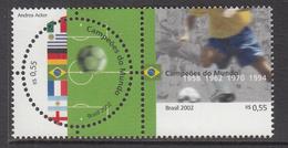 2002 Brazil Brasil World Cup Football Korea Complete Pair MNH - Nuovi
