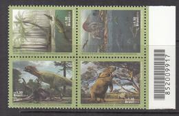 2014 Brazil Brasil Dinosaurs Complete Block Of 4 MNH - Brazilië