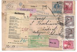1699b: Paketkarte Krakau Nach Zürich, Komplette Österreich- Ganzsache - Used Stamps