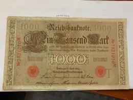 Germany 1000 Mark Banknote 1910 - [ 2] 1871-1918 : Duitse Rijk