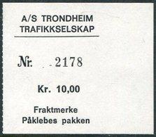 Norway AS TRONDHEIM TRAFIKKSELSKAP Bus 10 Kr. Freight Parcel Stamp Autobus Paketmarke Frachtmarke Norwegen Colis Norvège - Bussen