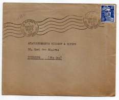 1950--Lettre De LE HAVRE-76  Pour TOULOUSE - 31 - Type Marianne Gandon - Cachet Krag  LE HAVRE Ppal - Marcophilie (Lettres)