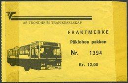 Norway AS TRONDHEIM TRAFIKKSELSKAP Bus 12 Kr. Freight Parcel Stamp Autobus Paketmarke Frachtmarke Norwegen Colis Norvège - Bussen