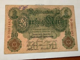 Germany 50 Mark Banknote 1910 - [ 2] 1871-1918 : German Empire