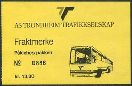 Norway AS TRONDHEIM TRAFIKKSELSKAP Bus 13 Kr. Freight Parcel Stamp Autobus Paketmarke Frachtmarke Norwegen Colis Norvège - Bussen
