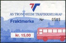 Norway AS TRONDHEIM TRAFIKKSELSKAP Bus 15 Kr. Freight Parcel Stamp Autobus Paketmarke Frachtmarke Norwegen Colis Norvège - Bussen