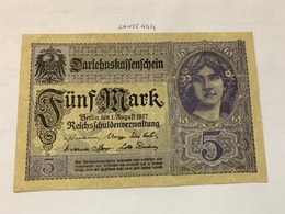 Germany 5 Mark Banknote 1917 - [ 2] 1871-1918 : German Empire