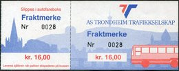 Norway AS TRONDHEIM TRAFIKKSELSKAP Bus 16 Kr. Freight Parcel Stamp Autobus Paketmarke Frachtmarke Norwegen Colis Norvège - Bussen