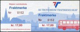 Norway AS TRONDHEIM TRAFIKKSELSKAP Bus 17 Kr. Freight Parcel Stamp Autobus Paketmarke Frachtmarke Norwegen Colis Norvège - Bussen