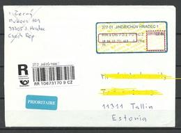 CZECH REPUBLIC Tschechien 2013 Registered Air Mail Cover To Estonia - Tchéquie
