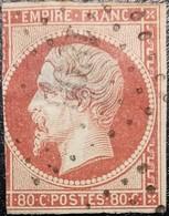 FRANCE Y&T N°17Ad Napoléon 80c Vermillonné. Oblitéré Losange PC N°1896 Marseille . Côte 620 Euros - 1853-1860 Napoleon III