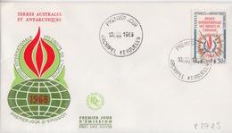 Kerguelen  10 AOU 68  N° 27  Premier Jour Sur FDC (Flamme, Année Internationale Des Droits De L'homme) - Französische Süd- Und Antarktisgebiete (TAAF)
