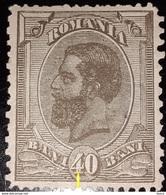 Romania King Charles I, 40 Bani WITH Line VERTICAL On 4 , Mnh - 1881-1918: Charles I
