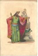 Gravure Ancienne Costumes CLOVIS I 1er Roi Des Francs Royauté Monarchie Franque Francisque Arme Trône Sceptre - Old Paper