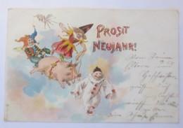Neujahr,  Schwein, Eulenspiegel, Harlekin, Kasper,  1899   ♥ (18497) - Neujahr