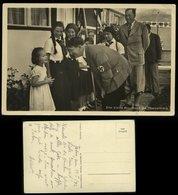 3. Reich : DR Hoffmann Postkarte Adolf Hitler Mit BDM Mädel Auf Dem Obersalzberg: Gebraucht Mit Text 1943 - Briefe U. Dokumente