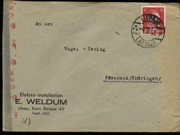 3. Reich : DR Ostland Lettland Briefumschlag Mit Zensur: Gebraucht Libau - Pößneck 1943, Bedarfserhaltung. - Briefe U. Dokumente