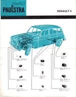 Automobile - Fiche Technique Paulstra - Joints D'étanchéité Et Pièces Diverses - Renault 4 - Levallois-Perret (92) - Automobile