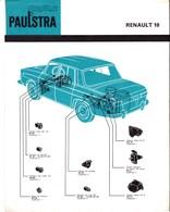 Automobile - Fiche Technique Paulstra - Joints D'étanchéité Et Pièces Diverses - Renault 10 - Levallois-Perret (92) - Automobile