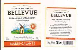 Etiquette Rhum Agricole - Domaine De  Bellevue - 100cl-  50% - Marie Galante - GUADELOUPE -  Thème Moulin - - Rhum