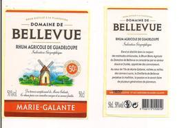 Etiquette Rhum Agricole - Domaine De  Bellevue - 50c L-  50% - Marie Galante - GUADELOUPE -  Thème Moulin - - Rhum