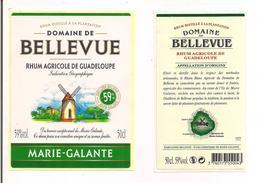 Etiquette Rhum Agricole - Domaine De  Bellevue - 50cl -  59% - Marie Galante - GUADELOUPE -  Thème Moulin - - Rhum