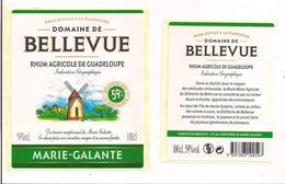 Etiquette Rhum Agricole - Domaine De  Bellevue - 100cl -  59% - Marie Galante - GUADELOUPE -  Thème Moulin - - Rhum