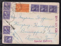 USA 1950 Airmail Cover Express Special Delivery HOLLIDAYSBURG To WUERZBURG Germany - Air Mail