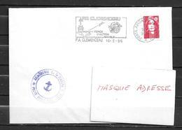 P.A. CLEMENCEAU - Infirmerie  - Flamme CLEMENCEAU  16/02/96 - Marcophilie (Lettres)