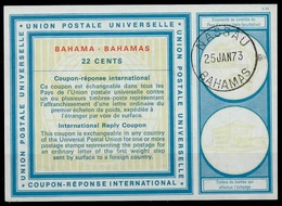 BAHAMAS Vi21 22 CENTS International Reply Coupon Reponse Antwortschein IAS IRC O NASSAU 25.01.73 - Bahamas (1973-...)