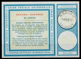 BAHAMAS Vi21 22 CENTS International Reply Coupon Reponse Antwortschein IAS IRC O NASSAU 14.02.73 - Bahamas (1973-...)