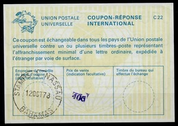 BAHAMAS La22B Handstamped 40c International Reply Coupon Reponse Antwortschein IAS IRC O NASSAU 12.10.78 - Bahamas (1973-...)