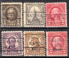 USA Precancel Vorausentwertung Preo, Locals Kansas, Salina 479, 6 Diff. Perf. 2 X 11x11, 4 X 10 1/2, 2 X Overprint Kans. - Vereinigte Staaten