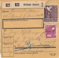 BiZone Paketkarte 1948: Weilbach Nach Hart Bei Mühldorf - Gemeinschaftsausgaben