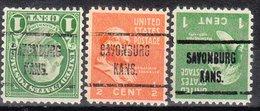 USA Precancel Vorausentwertung Preo, Locals Kansas, Savonburg 723, 3 Diff. Perf. 11x10 1/2 - Vereinigte Staaten