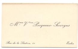 Visitekaartje - Carte Visite - Mme Vve Pecqueux - Severijns - Eecloo Eeklo - Visitenkarten