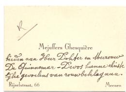 Visitekaartje - Carte Visite - Mejuffers Ghesquière - Menen - Cartes De Visite