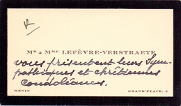 Visitekaartje - Carte Visite - Mr & Mme Lefèvre - Verstraete - Menin Menen - Cartes De Visite
