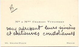 Visitekaartje - Carte Visite - Mr & Mme Charles Vuylsteke - Menin Menen - Cartes De Visite