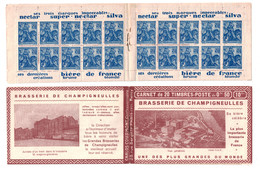 CARNET NEUF COMPLET Au Type JEANNE D'ARC N° 257 Avec PUBS BRASSERIE De CHAMPIGNEULLES (THEME ALCOOL BIERE) - Marcophilie (Lettres)