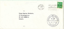 Great Britain Underpaid Cover Sent To Denmark Downpatrick 2-7-1984 With Postal Due T (stamp Damaged) - Isle Of Man