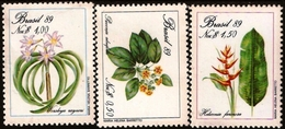 BRAZIL #2168-70 - PRESERVATION OF THE BRAZILIAN FLORA -  FLOWERING PLANTS  -  1989 - Brazil