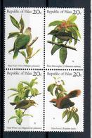 PALAU 1983 - FLORA E FAUNA - UCCELLI - BLOCCO DI 4 - MNH ** - Palau