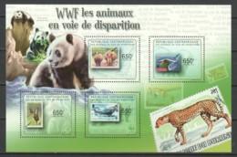 Central African Republic 2011 Kleinbogen Mi 3083-3086 MNH WWF - STAMP ON STAMP - Ongebruikt