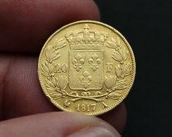 PIECE DE 20 F EN OR LOUIS XVIII 1817 A - Francia