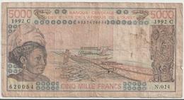 WEST AFRICAN STATES P. 308Cq 5000 F 1992 UNC - Burkina Faso